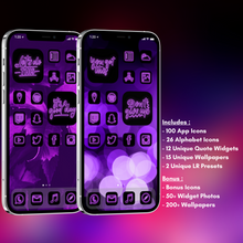 Load image into Gallery viewer, 240 Neon Purple icon pack, iOS 14 App Icons, Social media Icons, Aesthetic iPhone Home Screen, Customize lock