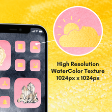 Load image into Gallery viewer, 300 WaterColor Alchemy icon pack, iOS 14 App Icons, Social media Icons, Aesthetic iPhone Home Screen, Customize, Gold, Black, Pink, Green