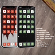 Load image into Gallery viewer, 600 Trendy Winter icon pack, iOS 14 App Icons, Social media Icons, Aesthetic iPhone Home Screen, Customize lock, Red, Blue, White, Green