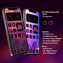 Load image into Gallery viewer, 240 Neon Pink icon pack, iOS 14 App Icons, Social media Icons, Aesthetic iPhone Home Screen, Customize lock