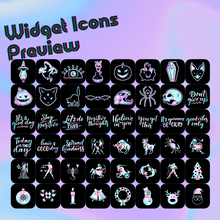 Load image into Gallery viewer, 360 Holographic icon pack, iOS 14 App Icons, Social media Icons, Aesthetic iPhone Home Screen, Customize lock, Purple Black Transparent