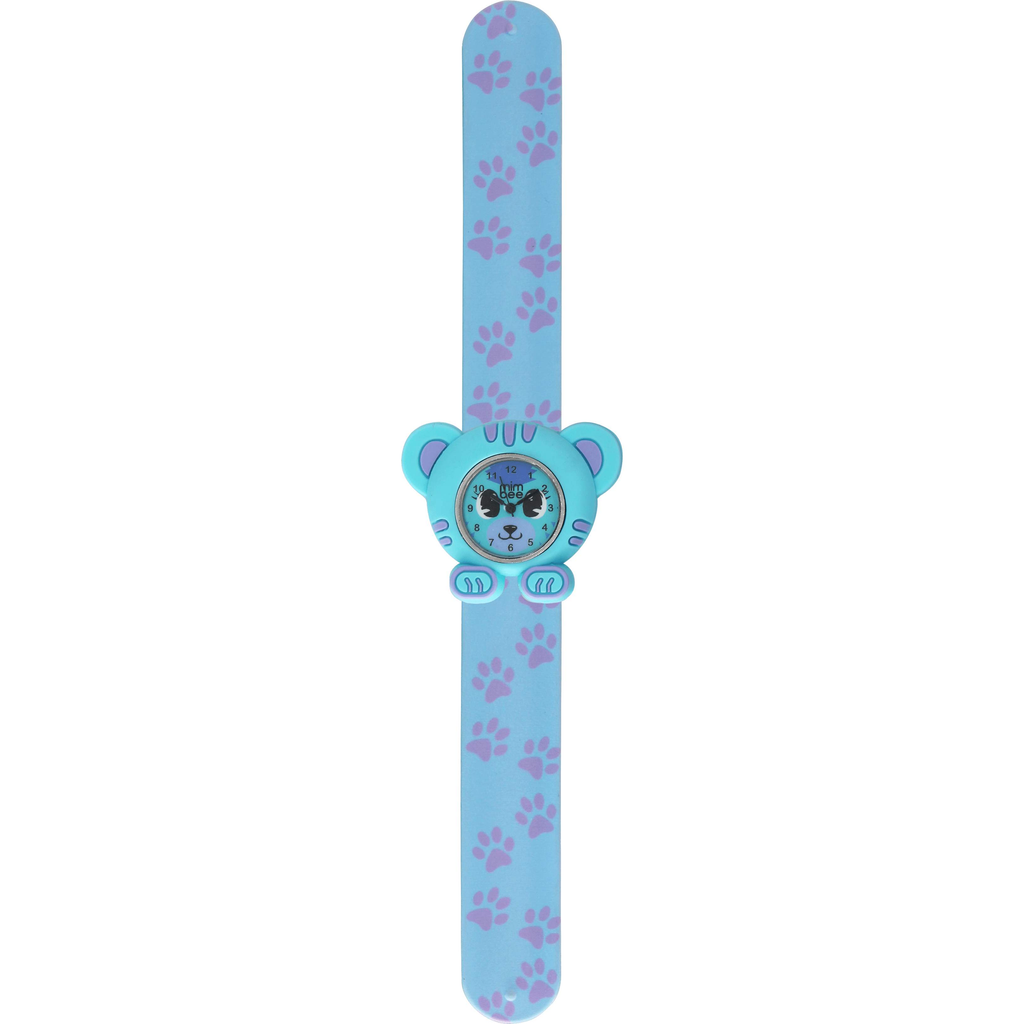 Mimbee - Soft Blue Paw Print Teddy Slap Watch