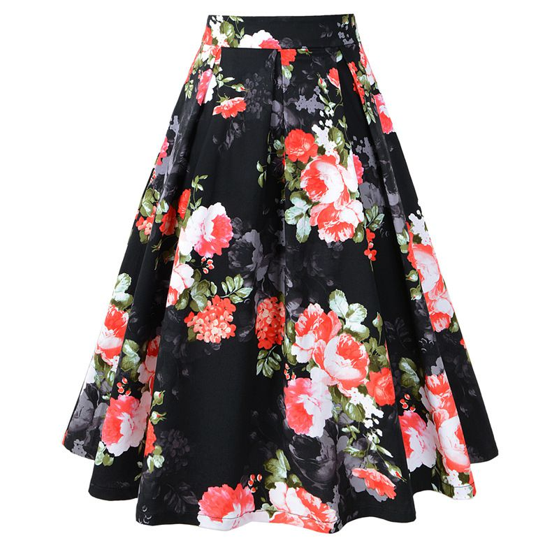 Classic Flower Printed Medium Length Swing Skirt