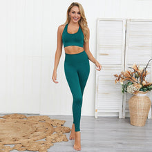 Load image into Gallery viewer, Solid Color Sports Bra High-waisted Tight Leggings Two-piece Set