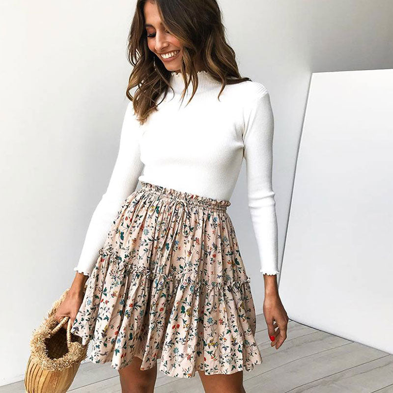 Women Fashion Floral Print Lace-up Crease Mini Skirt