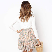 Load image into Gallery viewer, Women Fashion Floral Print Lace-up Crease Mini Skirt