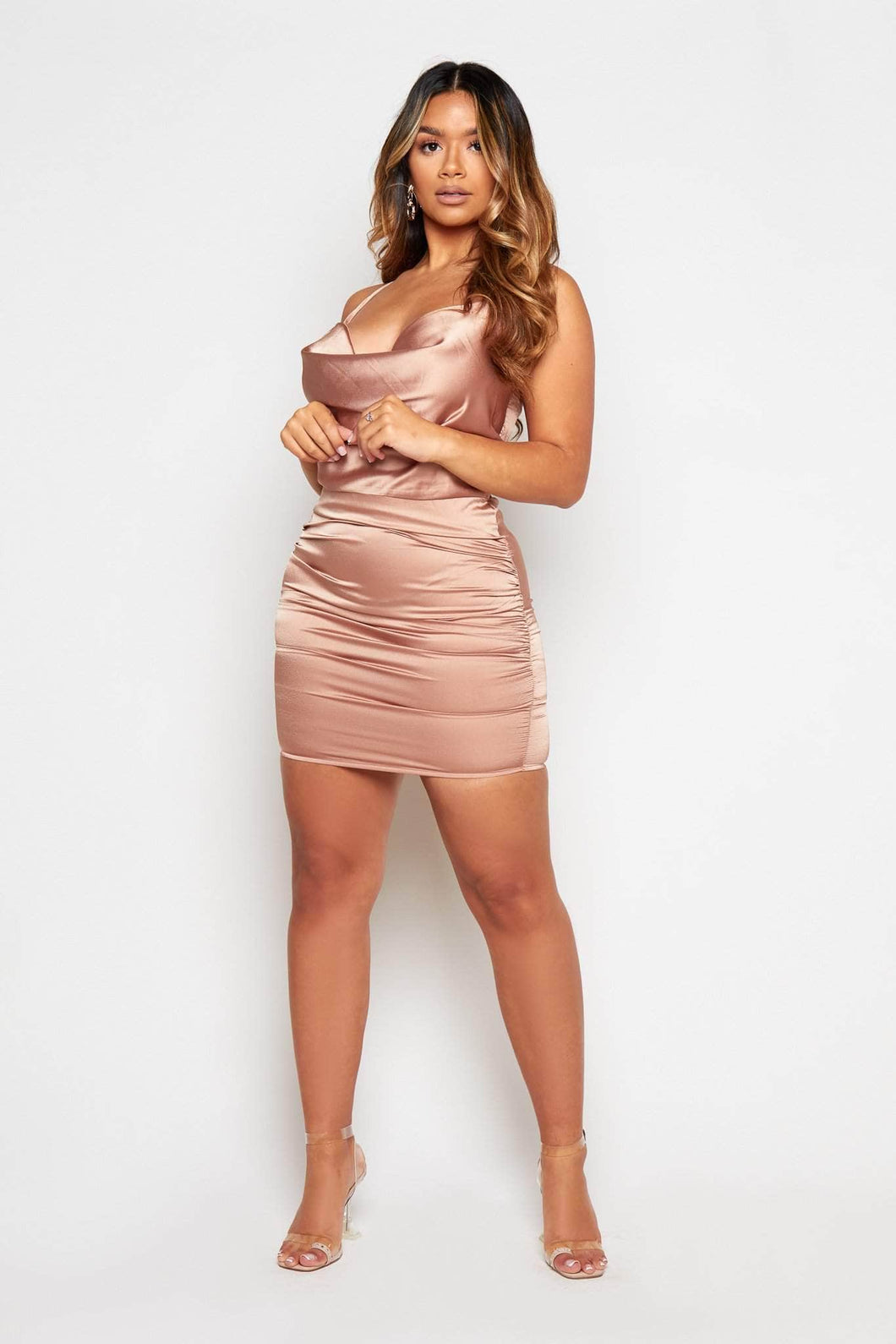 Satin Cowl Neck Mini Dress