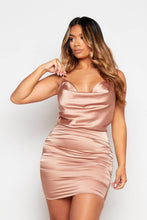 Load image into Gallery viewer, Satin Cowl Neck Mini Dress