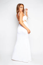 Load image into Gallery viewer, White V Bar Maxi Drop Dress