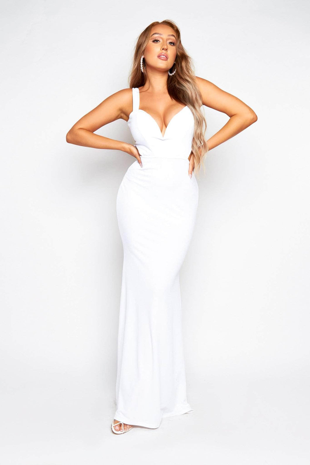 White V Bar Maxi Drop Dress