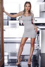 Load image into Gallery viewer, Parisian Grey Rib Knit Plunge Neck Bodycon Cami Dress