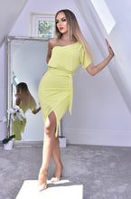 Load image into Gallery viewer, One Shoulder Wrap Dress Lime Green