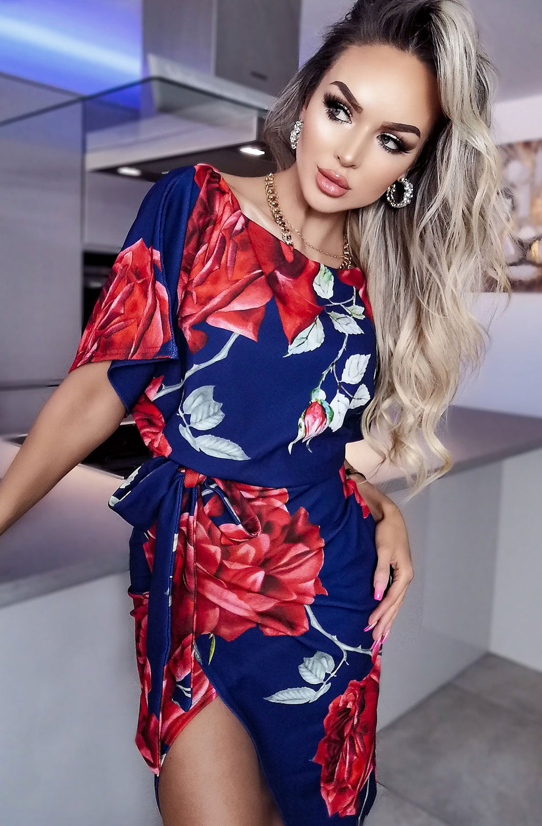 Floral Wrap Batwing Dress Navy