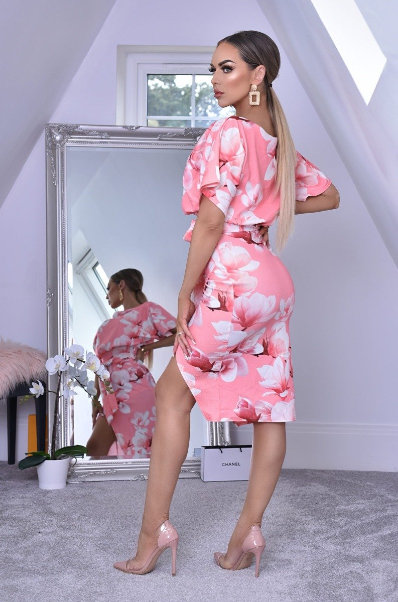 Floral Wrap Front Batwing Dress Peach