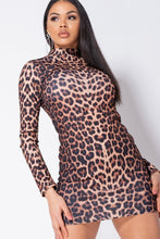 Load image into Gallery viewer, Leopard Print High Neck Long Sleeve Bodycon Dress
