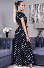 Load image into Gallery viewer, Polka Dot Wrap Maxi Dress Black