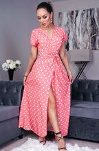 Load image into Gallery viewer, Polka Dot Wrap Maxi Dress Coral