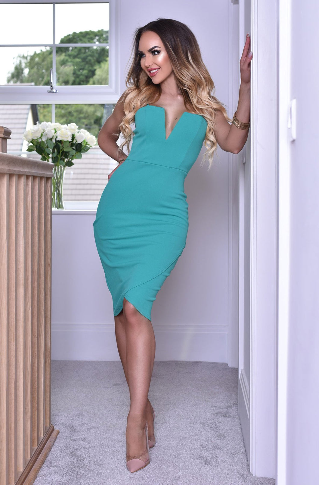 Plunge Wrap Dress Jade