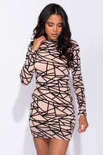 Load image into Gallery viewer, Nude Abstract Print Long Sleeved Mesh Bodycon Dress