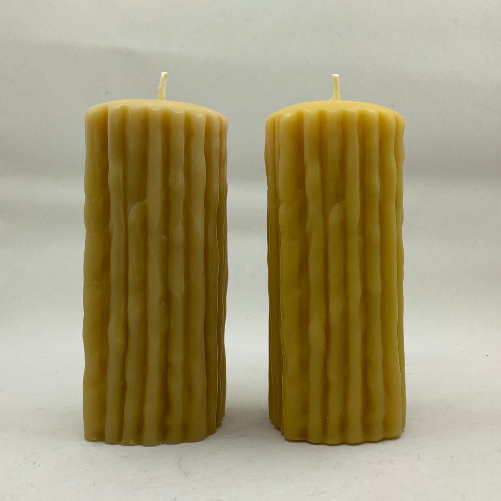 "Beeswax Candle - Drizzle Pillar 5.5""... by the Pair"