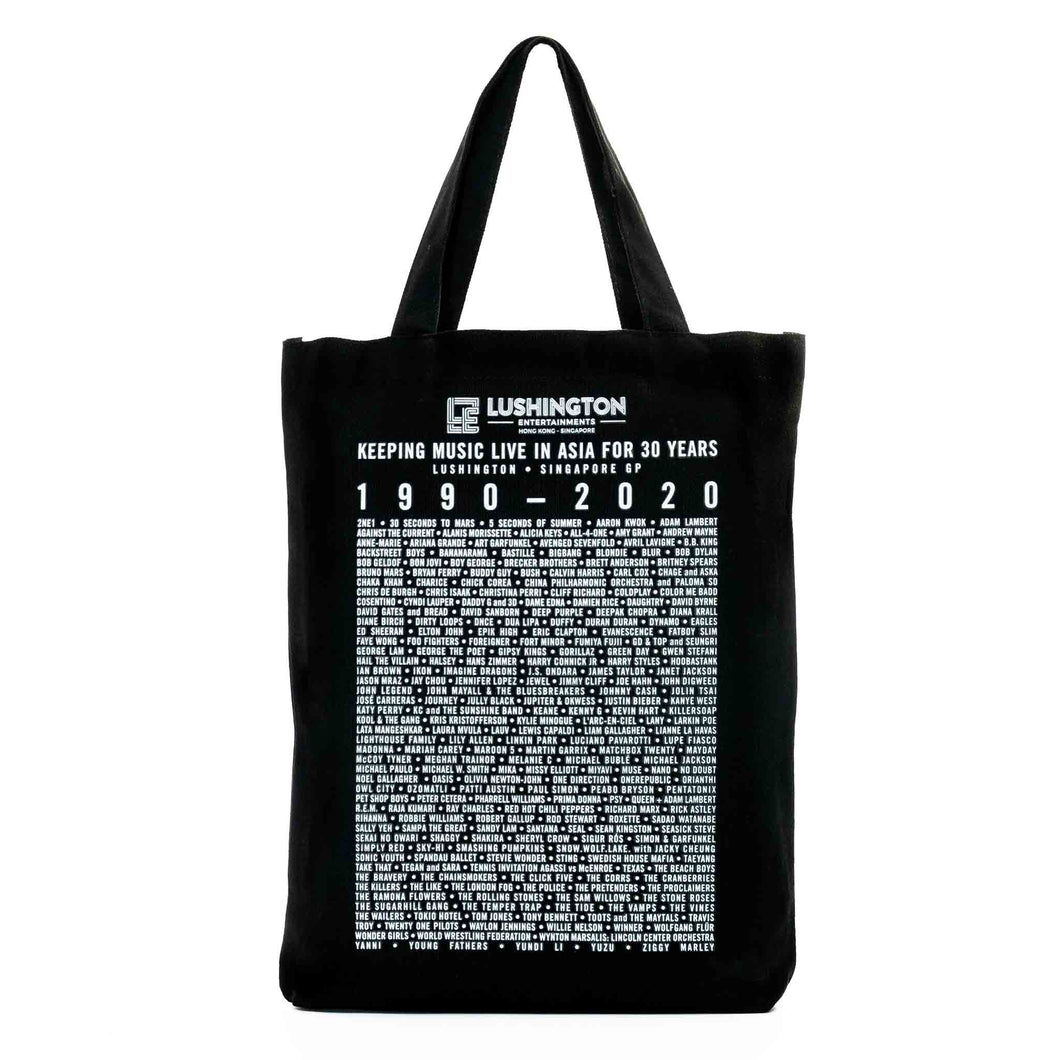 Lushington 30-Year Anniversary Tote Bag Monochrome Front View
