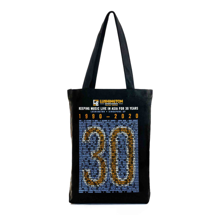 Lushington 30-Year Anniversary Tote Bag Azure Yellow Front View