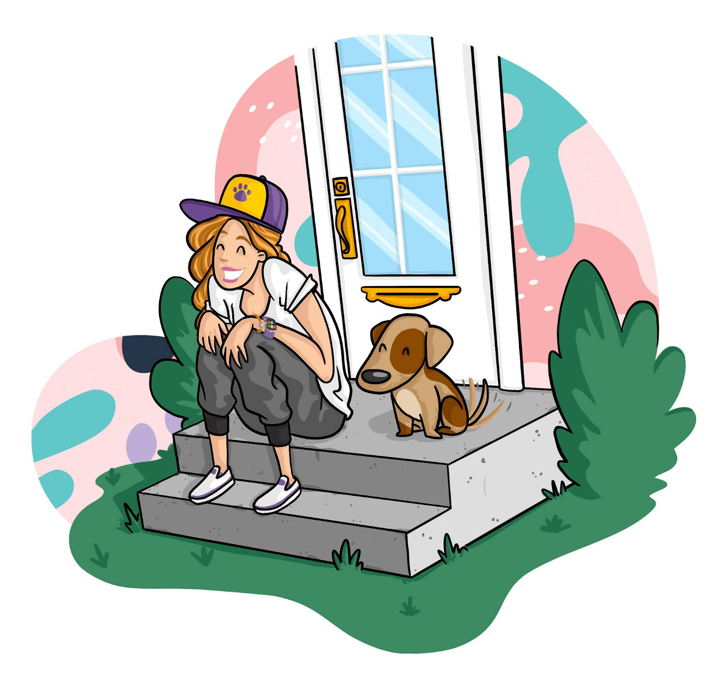 Cartoon mom and dog sitting happily on the front steps of a house