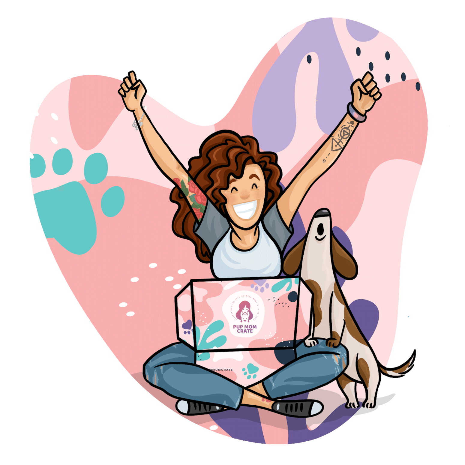 cartoon mom with hands in the air having received