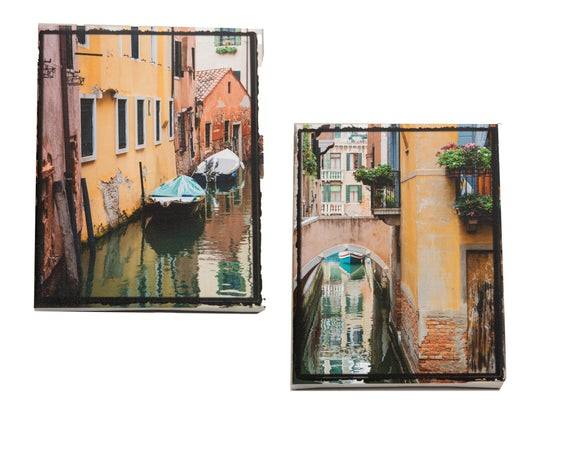 Set of 2 8 x10 inch Canvases - 2 Views of Venice Canals