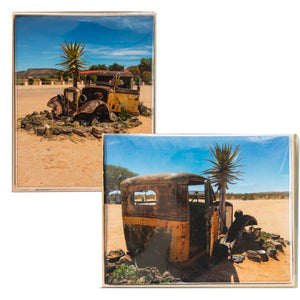 Antique Truck in the Namibian Desert - Set of 2   8 x 10 inch Canvases