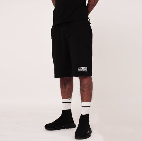 Big Box Embroidered Black Shorts