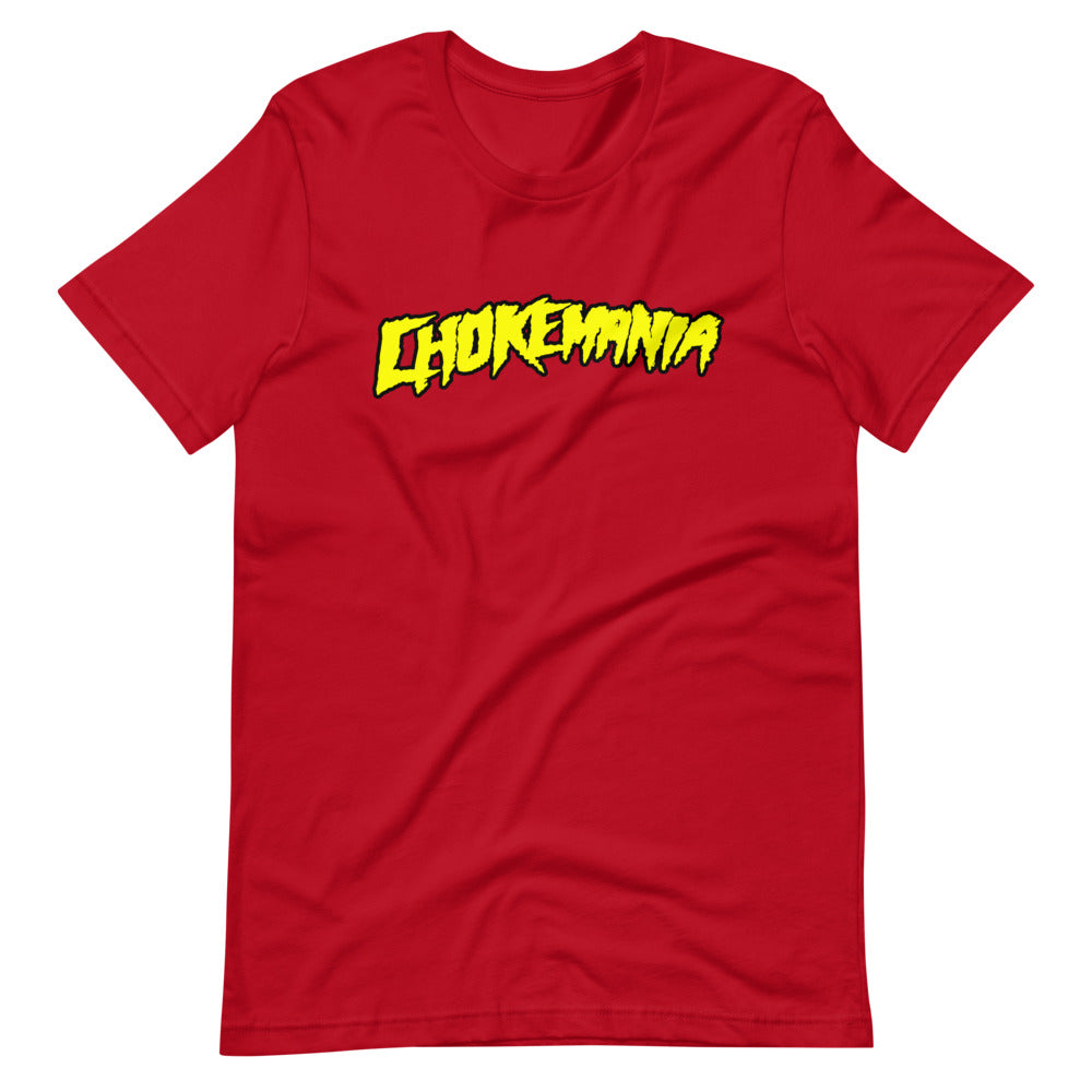 CHOKEMANIA - Yellow Logo on Red Tee