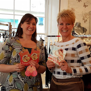 Samantha from Katys Boutique standing with Lucy Cox from Halto in Katys Boutique Truro shop on the day Katys Boutique began stocking Halto