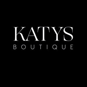Black background with Katys Boutique logo in white