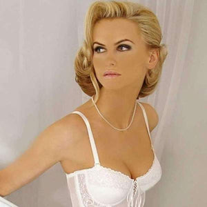 White boned wedding corset and blonde woman
