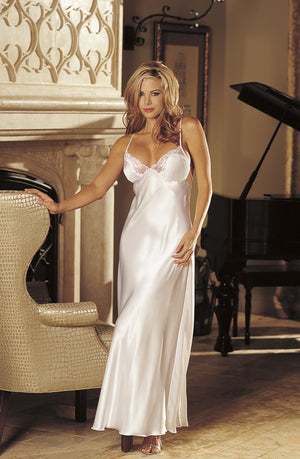Blonde woman wearing long white night dress