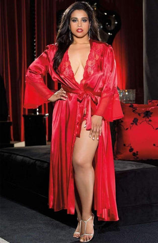 Long Red Robe or Dressing Gown in Plus Size