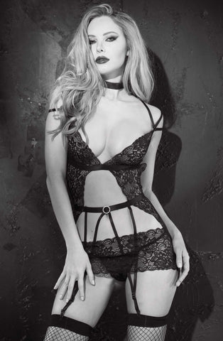 Stunning Black  Chemise and G String Set