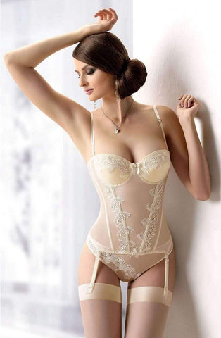 Beautiful Ivory boned corset and thong for wedding lingerie