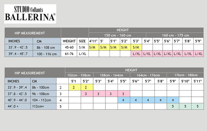 Sizing Guide for Ballerina Hosiery by Katys Boutique