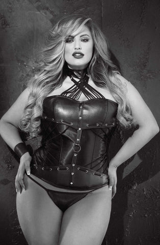 Faux Black Leather Corset on Plus Size Curvy Model