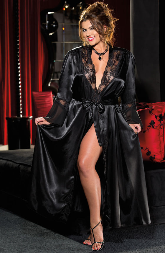 20559 Long Robe in Black by Shirley of Hollywood