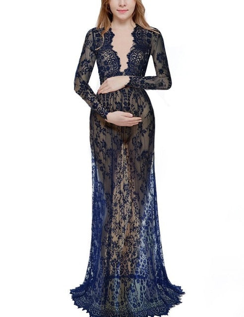 V Neck Lace Maxi Maternity Gown Dress