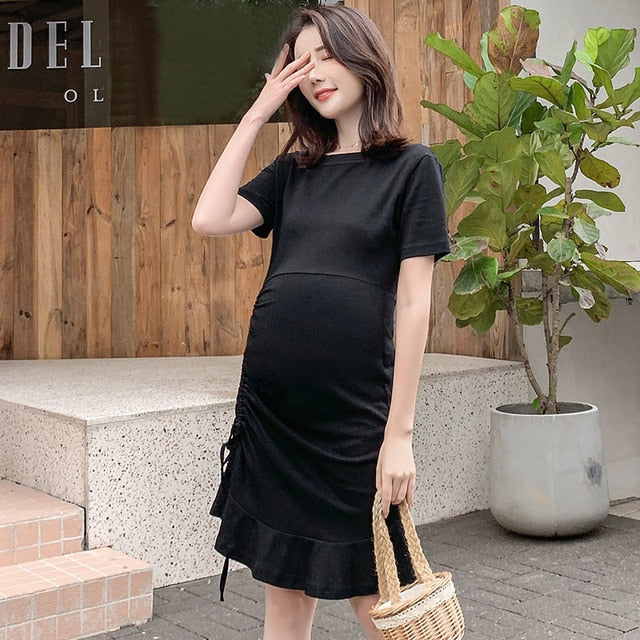 V Neck Flower Embroidery Maternity Dress