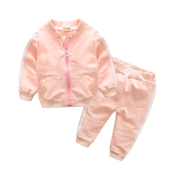 2 Piece Cotton Zipper Jacket+Pants Set