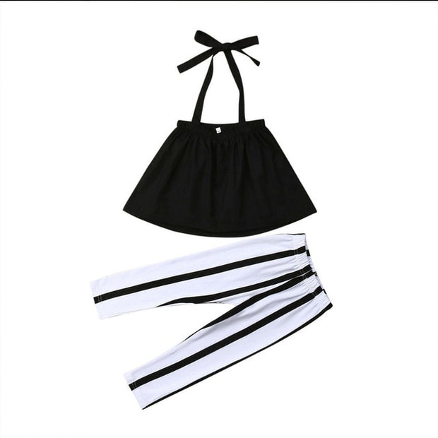 Baby Girls Summer Strap Tops+Stripes Pants.