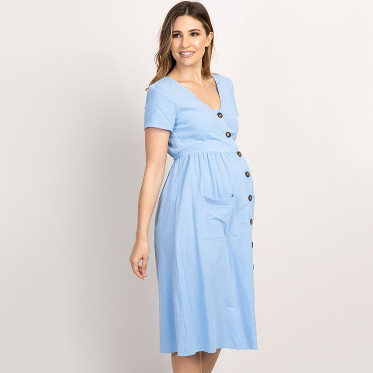 Button Pocket Maternity Dress