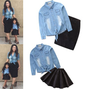 Mommy and me clothes Jeans Blouse+Solid Skirt.