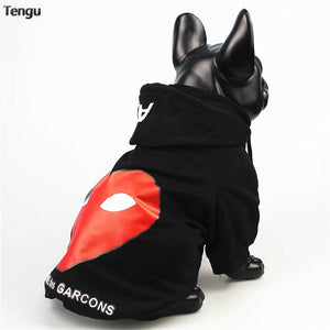 French Bulldog Black Love Hoodie Casual Outdoor Clothes Style Yorkie Outfit Suitable For Warm Cats  dog fleece  big clothes