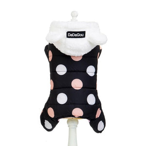 Winter Dog Clothes Hoodie Coat Big Polka Dot Cotton Coat Thicken Winter Warm Clothes for Small Dogs Puppy Sweater Dogs Pets